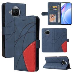 Luxury Two-color Stitching Leather Wallet Case Cover for Xiaomi Mi 10T Lite 5G - Blue