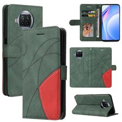 Luxury Two-color Stitching Leather Wallet Case Cover for Xiaomi Mi 10T Lite 5G - Green