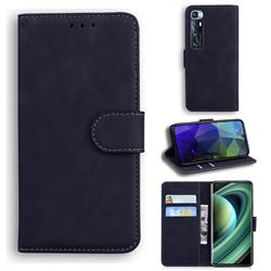 Retro Classic Skin Feel Leather Wallet Phone Case for Xiaomi Mi 10 Ultra - Black