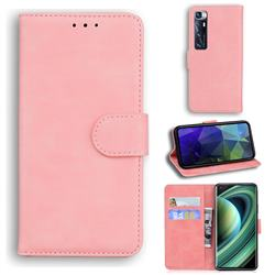 Retro Classic Skin Feel Leather Wallet Phone Case for Xiaomi Mi 10 Ultra - Pink