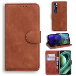 Retro Classic Skin Feel Leather Wallet Phone Case for Xiaomi Mi 10 Ultra - Brown