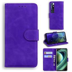 Retro Classic Skin Feel Leather Wallet Phone Case for Xiaomi Mi 10 Ultra - Purple