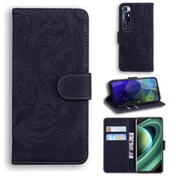 Intricate Embossing Tiger Face Leather Wallet Case for Xiaomi Mi 10 Ultra - Black