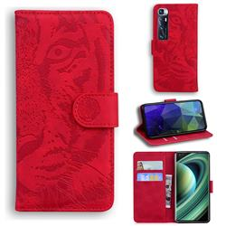 Intricate Embossing Tiger Face Leather Wallet Case for Xiaomi Mi 10 Ultra - Red