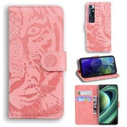 Intricate Embossing Tiger Face Leather Wallet Case for Xiaomi Mi 10 Ultra - Pink