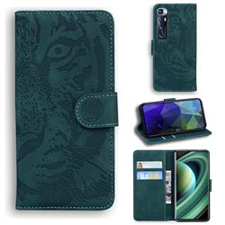 Intricate Embossing Tiger Face Leather Wallet Case for Xiaomi Mi 10 Ultra - Green