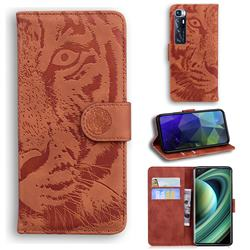 Intricate Embossing Tiger Face Leather Wallet Case for Xiaomi Mi 10 Ultra - Brown