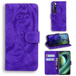 Intricate Embossing Tiger Face Leather Wallet Case for Xiaomi Mi 10 Ultra - Purple