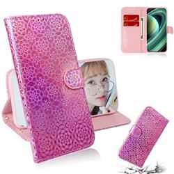 Laser Circle Shining Leather Wallet Phone Case for Xiaomi Mi 10 Ultra - Pink