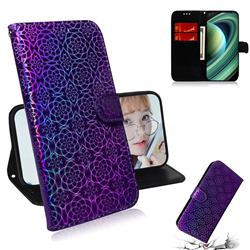 Laser Circle Shining Leather Wallet Phone Case for Xiaomi Mi 10 Ultra - Purple