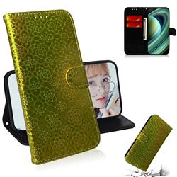 Laser Circle Shining Leather Wallet Phone Case for Xiaomi Mi 10 Ultra - Golden