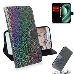 Laser Circle Shining Leather Wallet Phone Case for Xiaomi Mi 10 Ultra - Silver