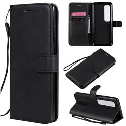 Retro Greek Classic Smooth PU Leather Wallet Phone Case for Xiaomi Mi 10 Ultra - Black