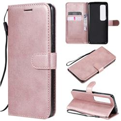 Retro Greek Classic Smooth PU Leather Wallet Phone Case for Xiaomi Mi 10 Ultra - Rose Gold