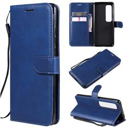 Retro Greek Classic Smooth PU Leather Wallet Phone Case for Xiaomi Mi 10 Ultra - Blue