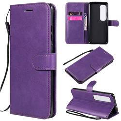 Retro Greek Classic Smooth PU Leather Wallet Phone Case for Xiaomi Mi 10 Ultra - Purple