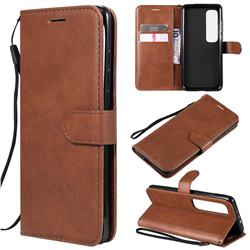 Retro Greek Classic Smooth PU Leather Wallet Phone Case for Xiaomi Mi 10 Ultra - Brown