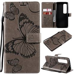 Embossing 3D Butterfly Leather Wallet Case for Xiaomi Mi 10 Ultra - Gray