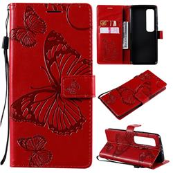 Embossing 3D Butterfly Leather Wallet Case for Xiaomi Mi 10 Ultra - Red