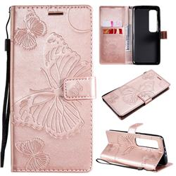 Embossing 3D Butterfly Leather Wallet Case for Xiaomi Mi 10 Ultra - Rose Gold