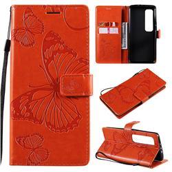 Embossing 3D Butterfly Leather Wallet Case for Xiaomi Mi 10 Ultra - Orange