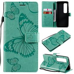 Embossing 3D Butterfly Leather Wallet Case for Xiaomi Mi 10 Ultra - Green