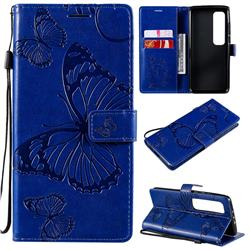 Embossing 3D Butterfly Leather Wallet Case for Xiaomi Mi 10 Ultra - Blue