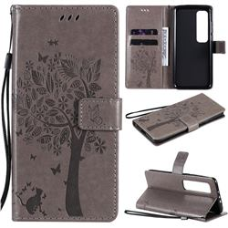 Embossing Butterfly Tree Leather Wallet Case for Xiaomi Mi 10 Ultra - Grey