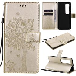 Embossing Butterfly Tree Leather Wallet Case for Xiaomi Mi 10 Ultra - Champagne