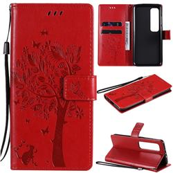 Embossing Butterfly Tree Leather Wallet Case for Xiaomi Mi 10 Ultra - Red
