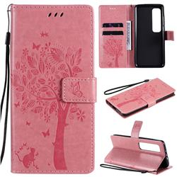 Embossing Butterfly Tree Leather Wallet Case for Xiaomi Mi 10 Ultra - Pink