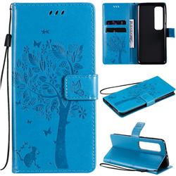 Embossing Butterfly Tree Leather Wallet Case for Xiaomi Mi 10 Ultra - Blue