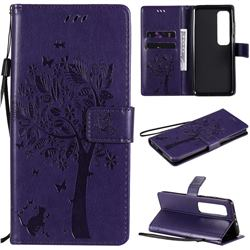 Embossing Butterfly Tree Leather Wallet Case for Xiaomi Mi 10 Ultra - Purple