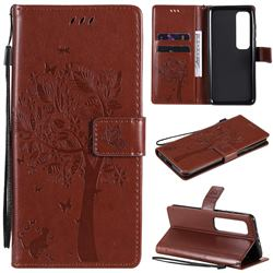 Embossing Butterfly Tree Leather Wallet Case for Xiaomi Mi 10 Ultra - Coffee