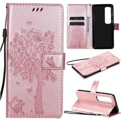 Embossing Butterfly Tree Leather Wallet Case for Xiaomi Mi 10 Ultra - Rose Pink