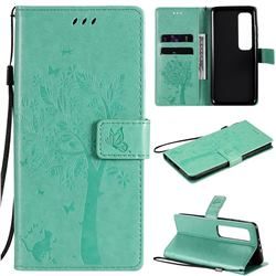 Embossing Butterfly Tree Leather Wallet Case for Xiaomi Mi 10 Ultra - Cyan