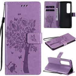 Embossing Butterfly Tree Leather Wallet Case for Xiaomi Mi 10 Ultra - Violet