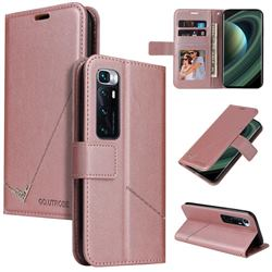 GQ.UTROBE Right Angle Silver Pendant Leather Wallet Phone Case for Xiaomi Mi 10 Ultra - Rose Gold