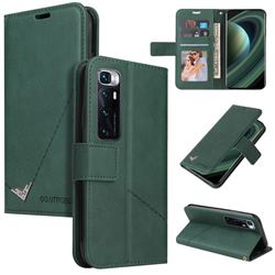 GQ.UTROBE Right Angle Silver Pendant Leather Wallet Phone Case for Xiaomi Mi 10 Ultra - Green