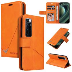 GQ.UTROBE Right Angle Silver Pendant Leather Wallet Phone Case for Xiaomi Mi 10 Ultra - Orange