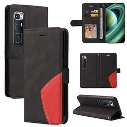 Luxury Two-color Stitching Leather Wallet Case Cover for Xiaomi Mi 10 Ultra - Black