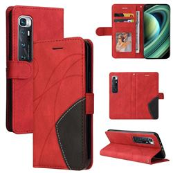 Luxury Two-color Stitching Leather Wallet Case Cover for Xiaomi Mi 10 Ultra - Red