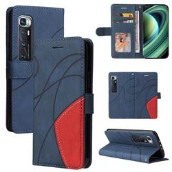 Luxury Two-color Stitching Leather Wallet Case Cover for Xiaomi Mi 10 Ultra - Blue
