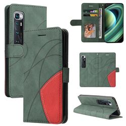 Luxury Two-color Stitching Leather Wallet Case Cover for Xiaomi Mi 10 Ultra - Green