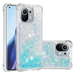 Dynamic Liquid Glitter Sand Quicksand TPU Case for Xiaomi Mi 11 - Silver Blue Star
