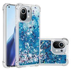 Dynamic Liquid Glitter Sand Quicksand TPU Case for Xiaomi Mi 11 - Blue Love Heart