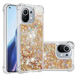 Dynamic Liquid Glitter Sand Quicksand TPU Case for Xiaomi Mi 11 - Rose Gold Love Heart