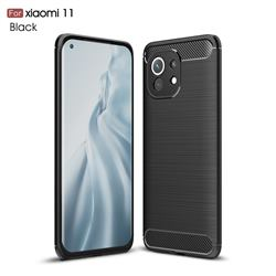 Luxury Carbon Fiber Brushed Wire Drawing Silicone TPU Back Cover for Xiaomi Mi 11 - Black