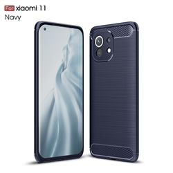 Luxury Carbon Fiber Brushed Wire Drawing Silicone TPU Back Cover for Xiaomi Mi 11 - Navy