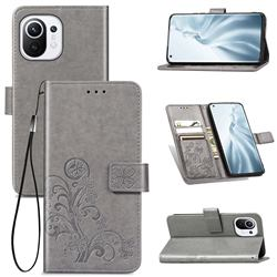 Embossing Imprint Four-Leaf Clover Leather Wallet Case for Xiaomi Mi 11 - Grey